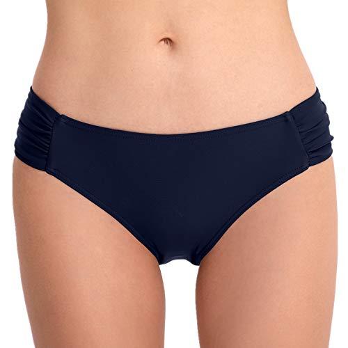 PANAX Damen Mädchen Badehose in Marine, Größe L - Urlaub Dreieck Bikinihose mit Faltendesign Swimwear Tankinihose