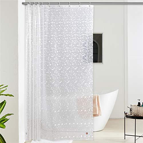 Furlinic Duschvorhang Überlänge Anti-schimmel Wasserdicht Transparent Badvorhang aus Eva 180cm Breit 240cm Hoch 3D Effekt Kieselstein mit 12 Duschvorhangringen Saum mit Steinen.