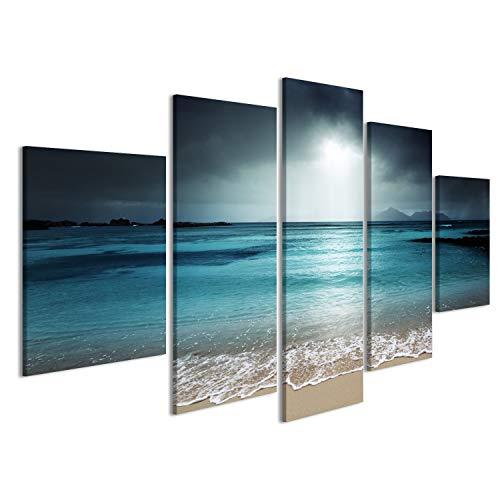 islandburner Cuadro Cuadros Impresión sobre Lienzo - Formato Grande - Cuadros Modernos Turquesa Playa del mar