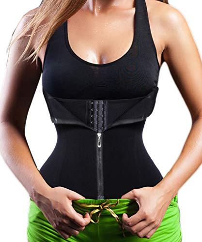 Bafully Damen Taillenformer Unterbrust Korsett Taillenmieder zum Gewichtsverlust Firgur Body Shaper mit 3 Reihen Haken & Reißverschluss (Schwarz, L)