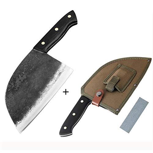 Küchenmesser Herramienta rebanar de cortar la espiga completa forjado hecho a mano del cuchillo del cocinero duro de acero con revestimiento de cuchilla de carnicero Cleaver Masacre cuchillo de cocina