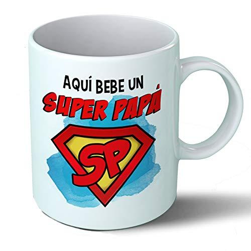 Taza Papa - Aquí Bebe Un Super Papa - Regalo Original Padre Superpapa Familia Taza Desayuno Café Ceramica 330 mL