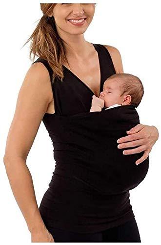 FACAI Womens Maternity Kangaroo T-Shirt Babytragen Wrap Skin-to-Skin Kangaroo Care Shirts,Black-M