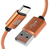 JAMEGA – 0,5m USB Typ C Kabel Orange | 3A Nylon geflochten USB C Ladekabel & Datenkabel Fast Charge Snyc schnellladekabel kompatibel mit Samsung Galaxy S10/S9/S8+, Sony Xperia XZ, Huawei P30/P20