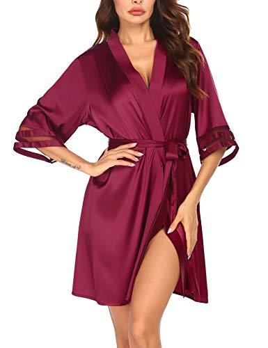 Kimono Morgenmantel Damen Kurz V-Ausschnitt Bademantel Weiche 3/4 Ärmel Seide Robe Nachtwäsche Elegant Loungewear