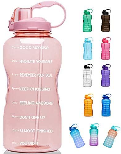 Botella de agua grande de 1 galón/130 onzas (cuando está llena) motivacional con marcador de tiempo y pajita, a prueba de fugas Tritan libre de BPA para fitness, gimnasio y deportes al aire libre