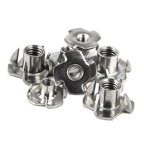 PROTECH 5 Stück Einschlagmuttern mit 4 Einschlagspitzen M6 Edelstahl A2 V2A Rostfrei Einschlaggewinde