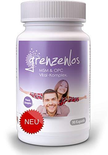 grenzenlos® MSM OPC Vital-Komplex - 90 hochdosierte Kapseln mit 19 abgestimmten Inhaltsstoffen - Echinacea, Ingwer, Brennnessel, Vitamin B Komplex u.v.m. - Markenprodukt aus Deutschland - 100% vegan