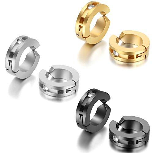 JewelryWe Pendientes Hombre Mujer, Pendientes de Aro Non Piercings Acero Inoxidable, Pendientes Falsos Negro Dorado Plateado 3 Pares (con bolsa de regalo)