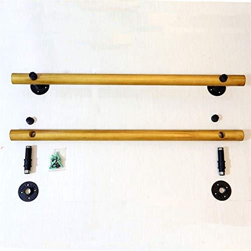 Pasamanos de escalera de madera maciza, barras de soporte de seguridad de corredor ancianos, interior, ático, soporte de acero inoxidable Pasadoras de escalera montadas en la pared, 1 pies-20 pies (ta