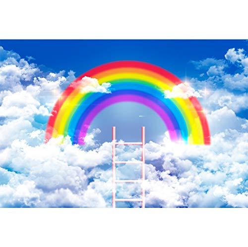 Cassisy 1,5x1m Vinilo Cumpleaños Telon de Fondo Puente de Arcoiris Nubes Blancas Cielo Azul Escalera Pastel Fondos para Fotografia Party Infantil Photo Studio Prop Photo Booth
