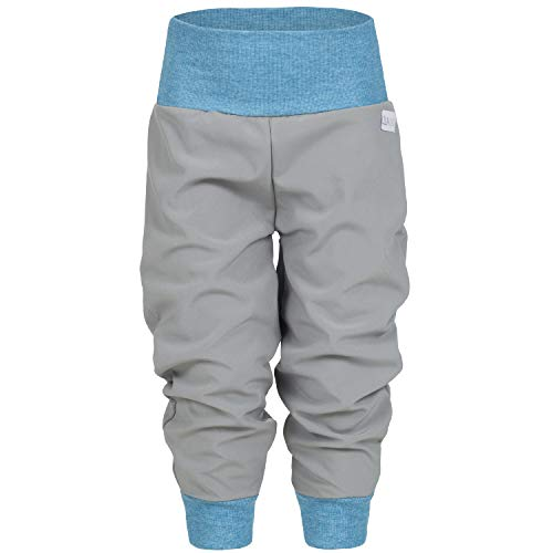 Lilakind Softshell Hose Babyhose Kinderhose Herbst Winter Gefüttert Regenhose Grau Blau Gr. 98/104 - Made in Germany