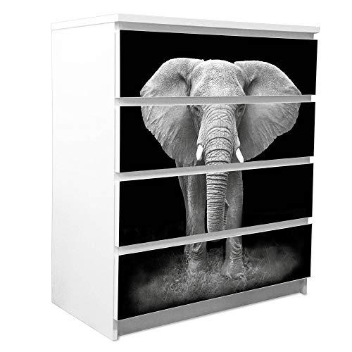 banjado Möbelfolie passend für IKEA Malm Kommode 4 Schubladen | Möbel-Sticker selbstklebend | Aufkleber Tattoo perfekt für Wohnzimmer und Kinderzimmer | Klebefolie Motiv Ella