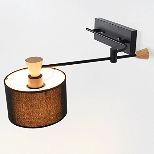 CHX Iron Art Bedside Lamp Single Head White Wall Bedroom Living Room Swing Arm Rocker Wall Lamp LTDF (Color : Black)