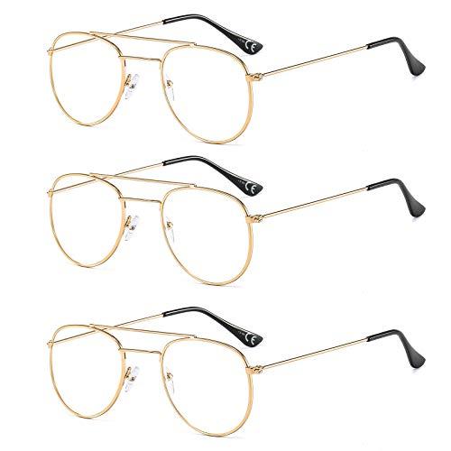 Suertree Metall Lesebrille 3 Pack Scharnier Sehhilfe Augenoptik Brille Lesehilfe für Damen Herren Fashion Leser Gold 1.5X BM391