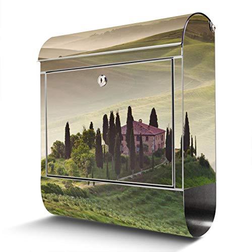 BANJADO Edelstahl Briefkasten mit Zeitungsfach, Design Motivbriefkasten, Briefkasten 38x43,5x12,5cm groß Toscana