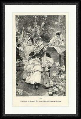 Kunstdruck J. Garcia y Ramos: EIN lauschiger Winkel in Sevilla Gitarren Faksimile_A 0974