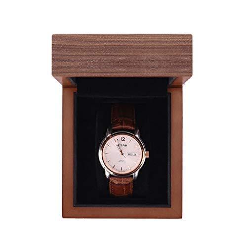 N/B Caja de Reloj Caja de Reloj de cuadrícula Individual/Negra para Hombre Estuche de Viaje de Metal Joyería Pulsera Pantalla de Regalo Reloj de Almacenamiento