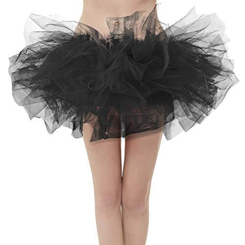 GirstunmBrand Damen 50er Mini Tüll Tutu Puffy Ballett Bubble Rock Schwarz-Plus Size