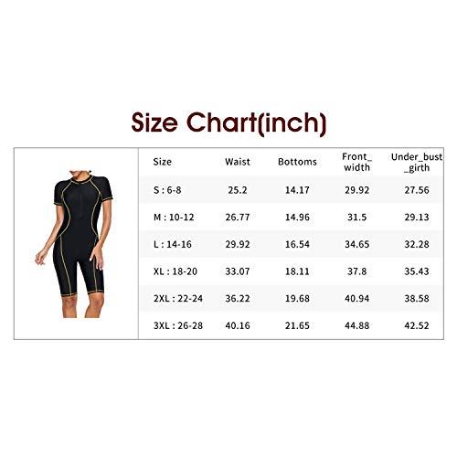 Lovezesent Women Athletic Swimwear Yellow Seam Contoured Zip Front Wetsuit Plus Size Surfing Swimsuit UK 14 Large Size L