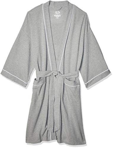 Fruit of the Loom Men's Waffle Kimono Robe, Heather Grey, One Size