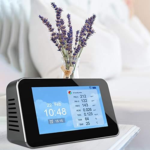 TTLIFE Monitor de calidad del aire Sensor independiente 12 en 1 CO2 / TVOC / PM2.5 / PM10 / HCHO/Analizador de partículas de polvo para interiores o exteriores para despertador