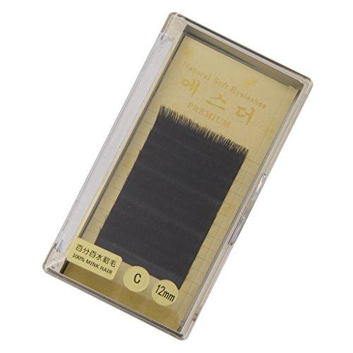Faut Cils Individuel Bouclé Extensions de Cils Noir 12mm