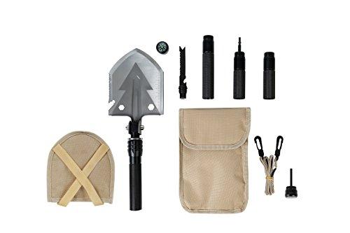Multifunktions Schaufel Klappspaten Militärschaufel Axt Säge Hammer Feuerstahl Kompass Survival Set Shovel Multifunktionswerkzeug für Camping Garten Outdoor Wandern Angeln oder für Abenteuer Reisen