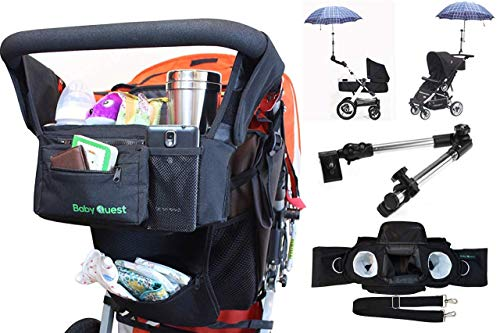 Universal/Double Stroller Organizer Bag with Cup Holders - Bonus Stroller Umbrella Attachment Clamp Accessory - Large Storage mesh Pouch for Small Diaper and Baby Accessories