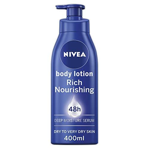 NIVEA Reichhaltige Pflegende Body Lotion (400ml), 48h Replenishing Body Lotion, Intensive Feuchtigkeitscreme mit Mandelöl, Cremige feuchtigkeitsspendende Formel