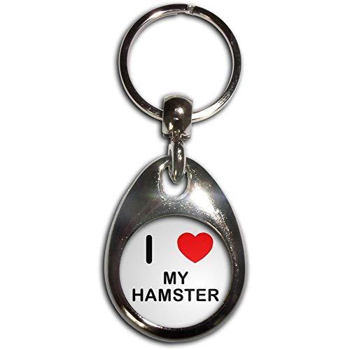 BadgeBeast.co.uk I Love Heart My Hamster - Chrome tropfenförmigen doppelseitigen Schlüsselanhänger