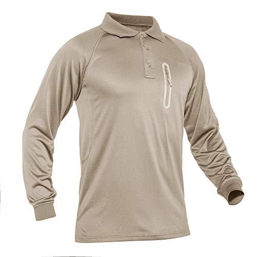 TACVASEN Outdoor Hemd Herren Langarm Wander Shirts UV Schutz Polo T-Shirt Herren Baumwolle Taktische Hemd Atmungsaktiv Angeln Shirts Sonnenschutz Camping Shirts Sommer Hemd mit Knöpfen Khaki
