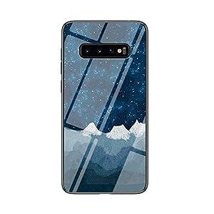 BRAND SET Carcasa para Samsung Galaxy S10 Plus Funda Protectora Transparente con Patrón Tela de Ajedrez Star Luo Cubierta Trasera de Vidrio Templado + Borde de Silicona Case Antigolpes-XLQB
