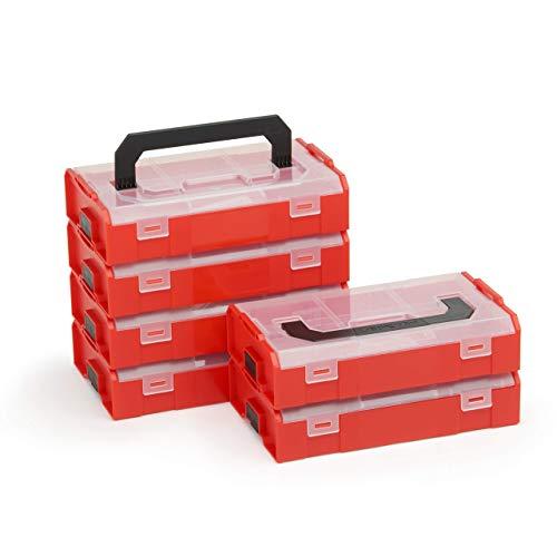 Bosch Sortimo L BOXX Mini | Set van 6 in rood transparant | Opbergdoos schroeven met deksel | Schroeven sorteerdoos rood