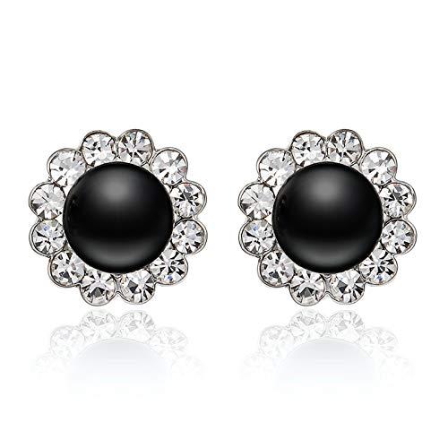 EVBEA Orecchini Clip Vintage Nero Perla Finta Orecchini Moda Cristallo Diamante Fiore Orecchini per Donne con Scatola Regalo Mamma