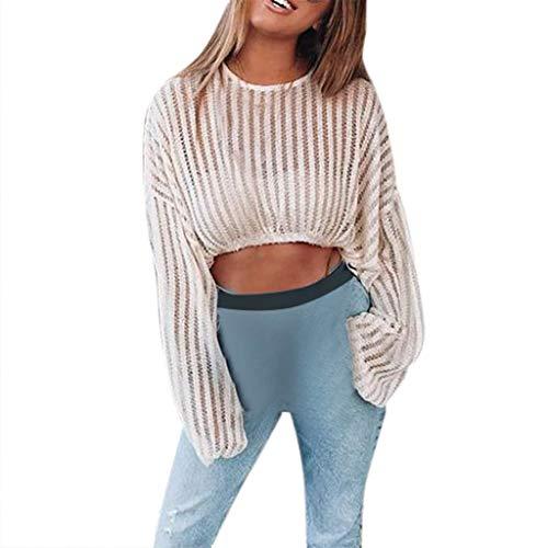 Luckhome Bluse Xiantime Damen Sommer Einfarbig Oberteile Crop Lose Casual Tops,Sexy Strickwaren Langarm Streifen Oansatz Pullover Mode Kurze (Beige,L)
