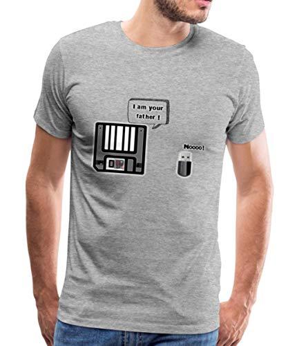 Geek Disquette Clé USB Blague T-Shirt Premium Homme, M, Gris chiné