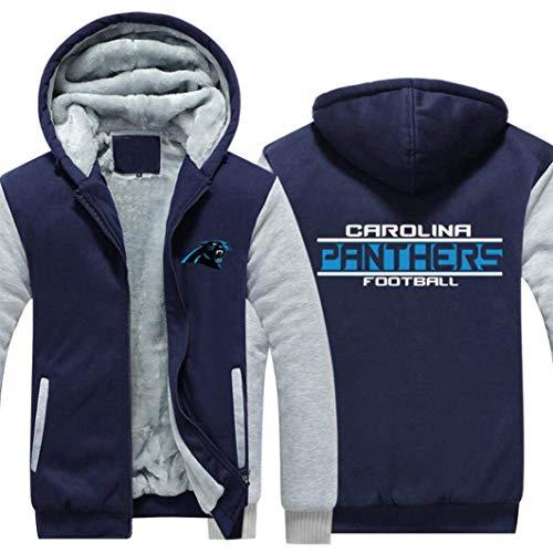 N/G Herren Rugby Hoodie-Carolina Panthers Reißverschlussjacke, weiche und hautfreundliche Langarmjacke (Größe: S-5XL)