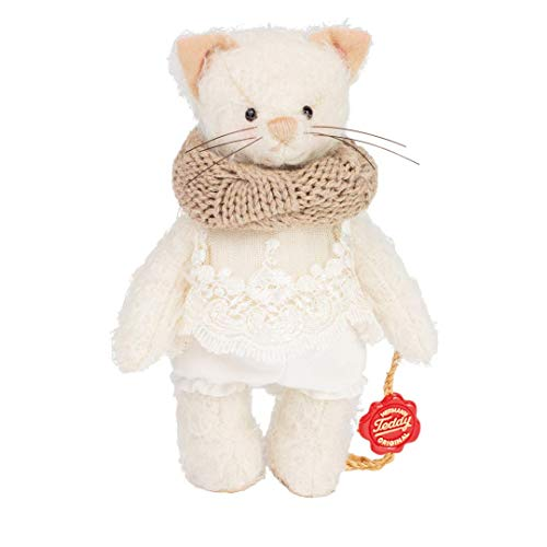Hermann Teddy Kätzchen Michelle stehend 14 cm limitiert auf 200 Stück mit Schal und Anzug weiß Mohair 10205 2