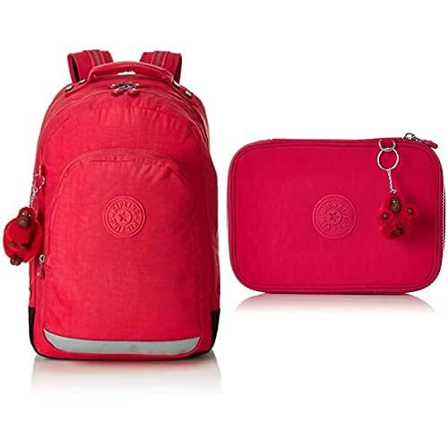 Kipling CLASS ROOM Mochila escolar, 28 litros, Rosa (True Pink) + 100 PENS Estuche Grande, Rosa (True Pink)