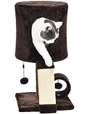 Amazon Basics - Torre en árbol con cerramiento elevado para gatos, 30,5x30,5x50,8 cm, marrón oscuro