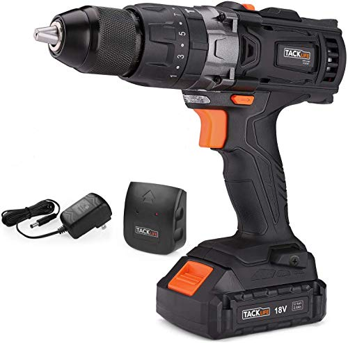 TACKLIFE PCD04C 20V Cordless Drill, Max Torque 310 In-lbs, 16+3 Position, 2.0Ah Lithium-Ion Battery, 2 Variable Speeds, 1/2' Metal Chuck, impact drill with LED for Wood, Metal, Cement
