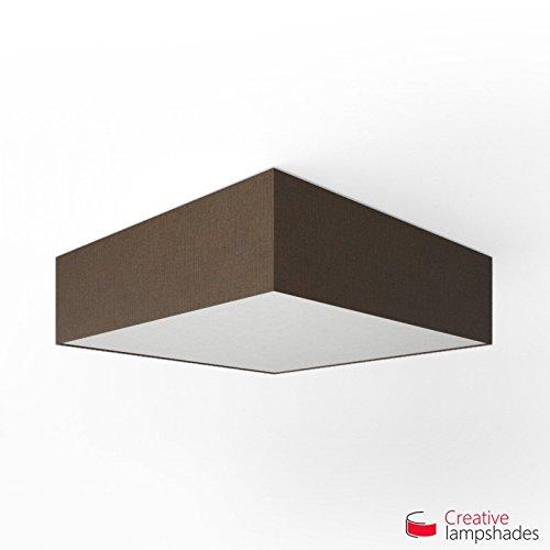 Creatieve lampenkappen Vierkante plafondlamp met bruine Camelot cover Side 40cm - H. 15cm