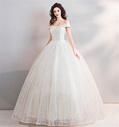 LYJFSZ-7 Hochzeitskleid,Elegantes Weiß, Glitzer-Zubehör Schulterfreies, Rundes Brautkleid, Prinzessin Style Bankett Abendkleid No. 07482