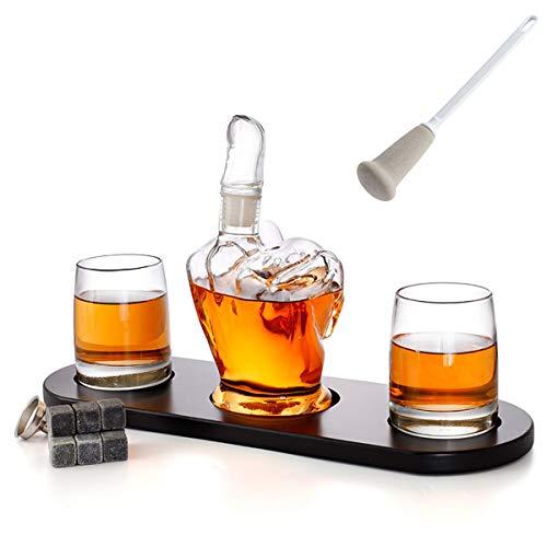 AYUSHOP Whisky Decanter 1000ml Dedo Medio puño Grande con 2 Copas de