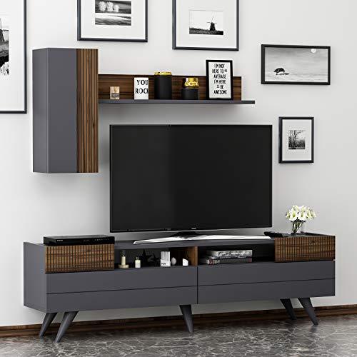HOMIDEA Moon Set Soggiorno - Parete Attrezzata - Mobile TV Porta con 2 Armadietti per Salotto con mensola in Moderno Design (Antracite/Noce)