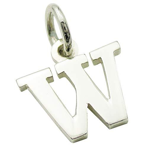 小さなアルファベットのチャーム (1) 「W」 ステンレスチェーンセット ゴシック体 ネックレス シルバー925 60cm