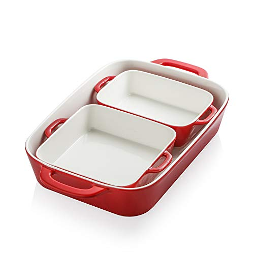 SWEEJAR Ceramic Bakeware Set, Rectangular Baking Dish for Cooking, Kitchen, Cake Dinner, Banquet and Daily Use, 12.8 x 8.9 Inches porcelain Baking Pans (Red)