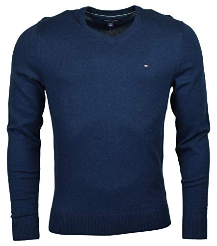 Tommy Hilfiger Mens Pima Cotton Cashmere V-neck Sweater (S, Navy Blue)