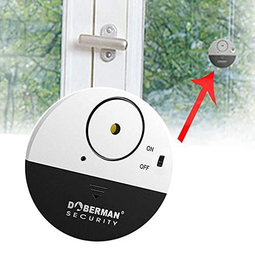 Fenster Tür Alarm,Ultra-Dünner Fensteralarm Glasbruchalarm,Mini-Alarmanlage Aufkleber Alarmanlage,mit Erschütterungssensor,Security Alarmsirene Bis,mit Lauter 100 DB Sirene